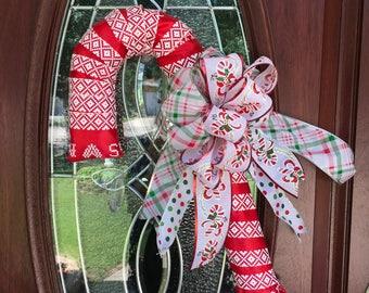 Candy cane ribbon wreath, candy cane door decor, Candy cane wreath, candy cane decor, Christmas candy cane, Christmas wreath,
