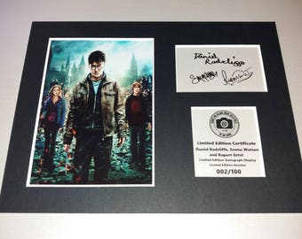 Harry Potter - Daniel Radcliffe Emma Watson Rupert Grint - Harry Hermione Ron - Signed Autograph Display - Fully Mounted Ready To Be Framed
