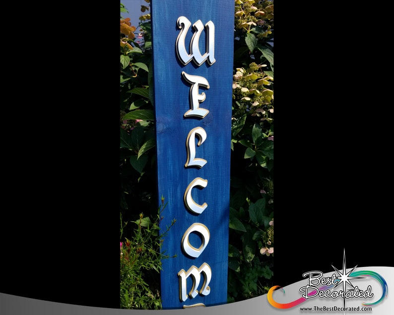 featuring the magic castle with stars Welcome leaning wood Porch Sign with enchanted royal lettering
