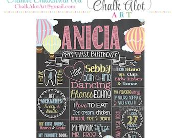 Hot Air Balloon Birthday Chalkboard, Hot Air Balloon Birthday, Birthday Poster, Chalkboard, First Birthday Chalkboard, Milestone