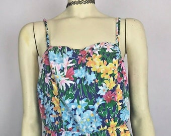 Vintage 50s style Swimsuit Romper Pinup Rockabilly Retro Glam Floral Playsuit M