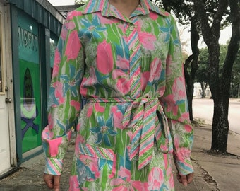 8c5ba839ecf VTG Vintage 60s Midi Shirt Dress Pastel The Lilly Lilly Pulitzer Floral  Print 10