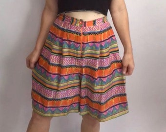 Vintage 80s Rainbow Geo Silk Festival Culotte High Waisted Pleated Shorts Sz M