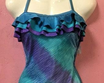 0c64ebc660 Vtg 80s Blue Purple Retro Ruffle One Piece Swimsuit Bathing Suit Bodysuit 14