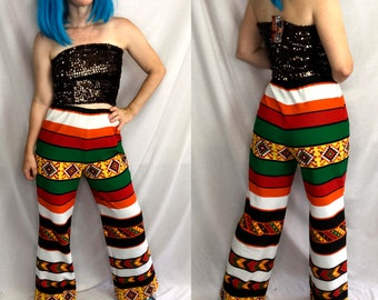 psychedelic print by Angie Bell bottoms 26 Waist Vintage 1990s Elephant Leg pants high waisted