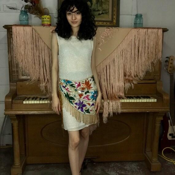 Vintage | Beaded Sequin Fringe Sarong Silk Flapper