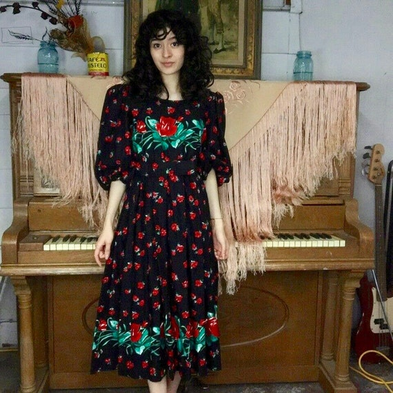 Vintage 80s | Sabino Floral Big Puffy Statement Pu