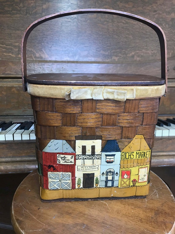 Vintage 60s Basketville Basket Box Purse Wicker Ba