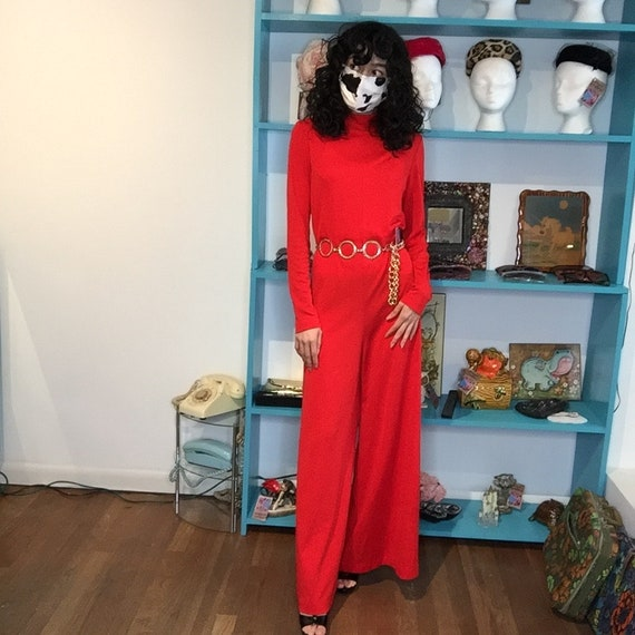 Vintage 1970s   Red Groovy Mod Disco Wide Leg Bell