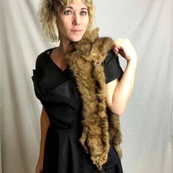 Vintage 30s 40s 50s Brown Fur Pelts Stole Clasp Sc