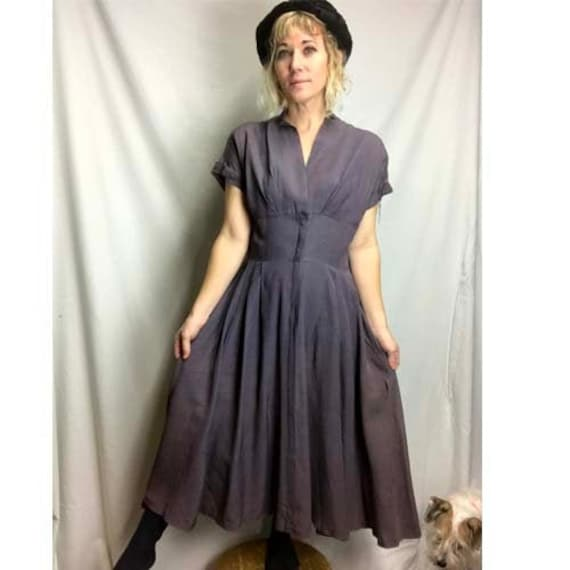 Vintage 1940s 1950s Swing Dress Late 40's early 5… - image 1