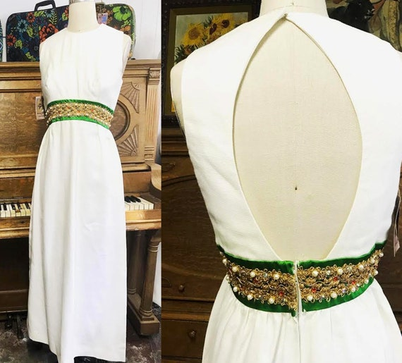 Vintage 60s 70s Mod Mid Century Maxi Prom Party We