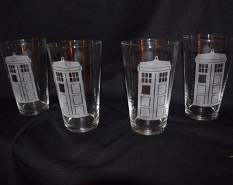 Doctor Who TARDIS Inspired Etched Glasses