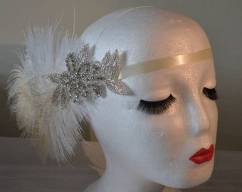 1920's Vintage Style Headpiece Silver & Diamante Ivory Feathers Head Flapper Great Gatsby Weddings Hats New Year's 1920's Party