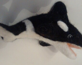 Needle felted Orca, killer whale, killer whale from felt, black and white, decoration, seafood, sea, needle felted, felt animal,.