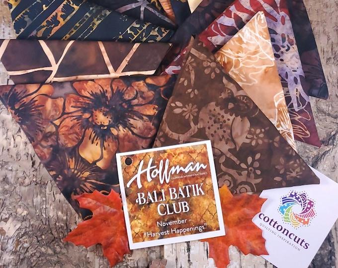 """Hoffman Bali Batik Club - November """"Harvest Happenings"""" - 12 Coordinating Fat Quarters - Quilting Cotton"""