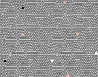 Northcott Fabrics - Cosmo Charcoal Pink - Triangle Grid - 23042.95 - Modern Maker Box