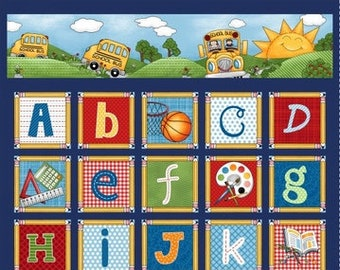 "Studio e Fabrics - School Zone Alphabet Panel - 4131P.77 - approx 24"" x 44"""