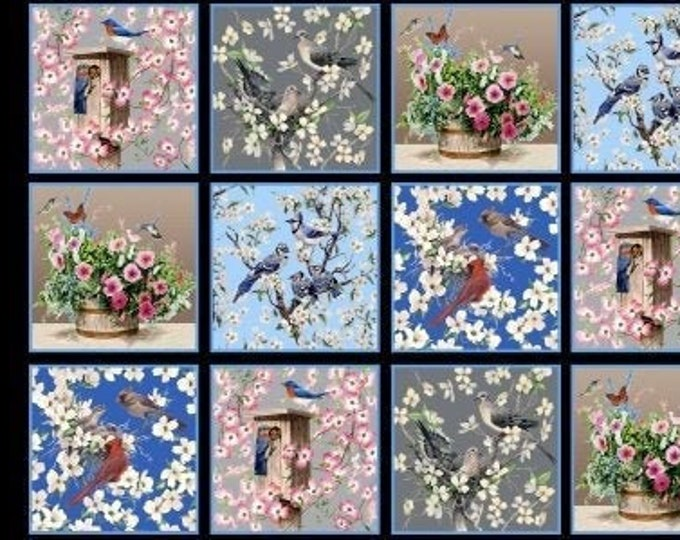 "Blank Quilting - Birds of a Feather by Linda Picken - 9004-99 -  approx 24"" x 44"""