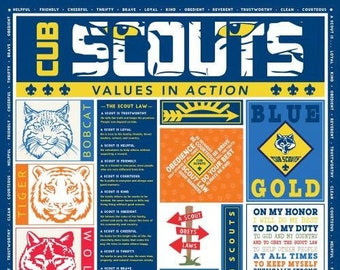 "Riley Blake - Cub Scouts Panel - P7206 - approx 36"" x 44"""