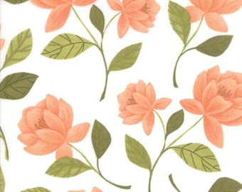 Moda - Goldenrod by One Canoe Two -(36050-11) White with Peach Flowers - Floral