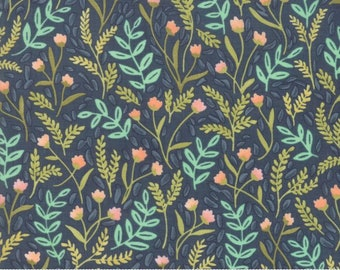 Moda - Goldenrod by One Canoe Two -(36051-12)  Green with Peach and Taupe Plants - Floral