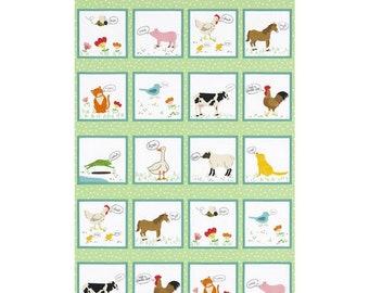 "Robert Kaufman - What do the Animals Say Panel - ATK-18060-276 -  approx 24"" x 44"""