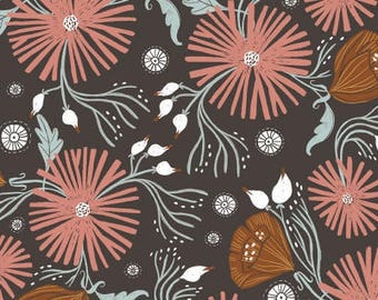 One Yard Cut - Wild Folk Floral in Chocolate - Folkwood by Rae Ritchie for Dear Stella -  Quilters Cotton