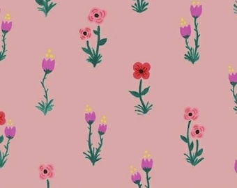 CLEARANCE - One Yard Cut - Meriwether by Amy Gibson for Windham Fabrics - Folk Fleur in Petal  -  Quilters Cotton