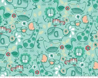 5 Yard Cut - Camelot Fabrics - Jungle Friends in Aqua - Juvenile
