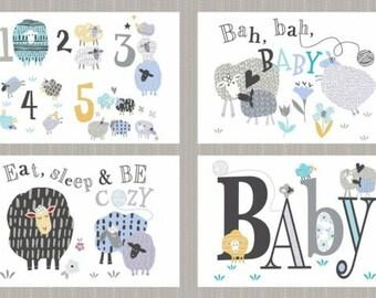 "Windham Fabrics - Bah Bah Baby Panel by Jill McDonald - 50828P-X - approx 24"" x 44"""