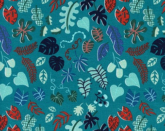 CLEARANCE - Cotton + Steel - Lagoon by Rashinda Coleman-Hale - Leafy Wonder Teal - Modern Maker Box