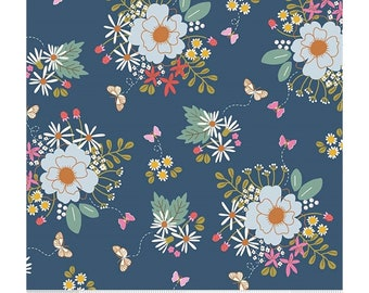 Riley Blake Fabrics - Wild Bouquet by Citrus & Mint Designs - Navy (C7470) - Floral