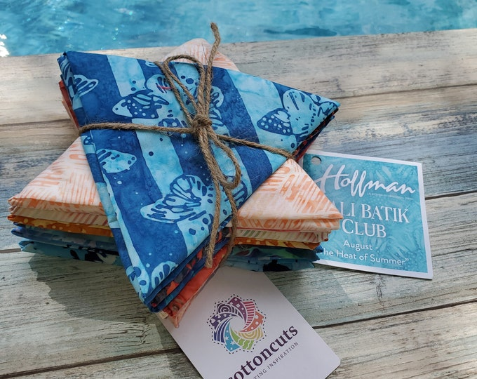 "Hoffman Bali Batik Club - August ""The Heat of Summer"" - 12 Coordinating Fat Quarters - Quilting Cotton"