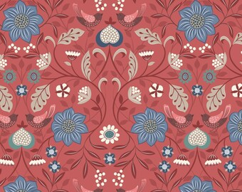 Lewis & Irene Fabrics - Michaelmas - Little bird floral on soft red (A398.2) - Floral
