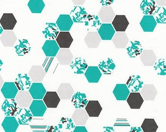 CLEARANCE - Robert Kaufman - Palm Canyon by Violet Craft - Teal Hex Patterns - Modern Maker Box