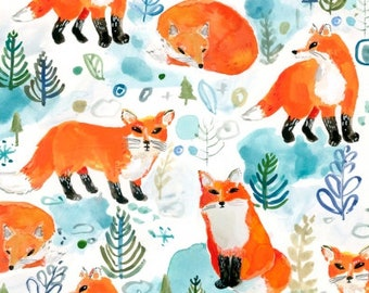 Dear Stella Fabrics - Best in Snow by August Wren - STELLA DAW1206 White Winter Foxes - Holiday / Seasonal