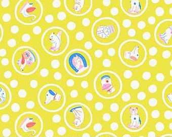 Sunstruck Fabric D - Ring Toss by Emily Taylor for FIGO - Yellow Animals - 90154-52