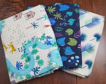 3 Half Yard Fabric Bundle - Lagoon by Rashida Coleman-Hale for C+S - Blue with Map - Cotton