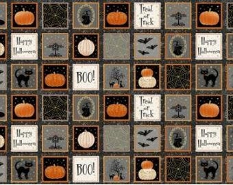 CLEARANCE - Henry Glass Fabrics - Midnight Spell Panel Metallic - 6974M - Holiday and Seasonal (Halloween)