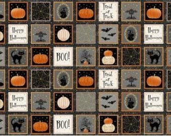 Henry Glass Fabrics - Midnight Spell Panel Metallic - 6974M - Holiday and Seasonal (Halloween)