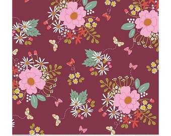 Riley Blake Fabrics - Wild Bouquet by Citrus & Mint Designs - Merlot (C7470) - Floral