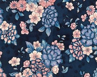 Robert Kaufman Fabrics - Calista Pearl by Studio RK - Large Floral on Navy with light metallic accents (SRKP-18131-72 COBALT)