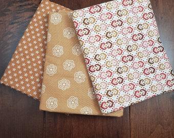 3 Half Yard Fabric Bundle - Reproductions 1 - Creams - Cotton