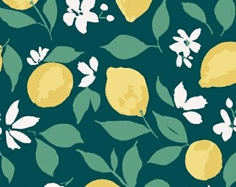 Windham Fabrics - Pink Lemonade by Tessie Fay -51322-1 - Lemons on Green - Floral