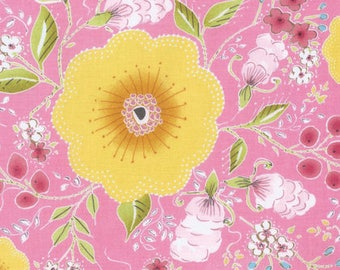 5 Yard Cut - Free Spirit - Dena Designs Fleurette Pink - Floral