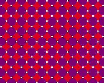 Contempo by Benartex - Gridwork - Circle Grid Purple/Red - 06815.68 - Blender