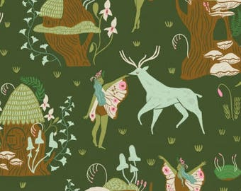 CLEARANCE - One Yard Cut - Woodland Fairies on Green - Woodland Nymph by Rae Ritchie for Dear Stella -  Quilters Cotton