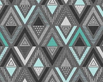 Northcott Fabrics - Cosmo Charcoal TURQ- Triangle Diamond - 23056.96 - Modern Maker Box