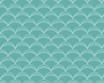 Windham Fabrics - Good Vibes Only by Shayla Wolf of Sassafras Lane Designs - Teal arcs (51105-14) - Blender